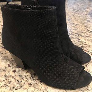 Old Navy Black Perforated Open Toe Heel Booties 8